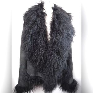 ANN DEMEULEMEESTER Mongolian Lamb Fur & Suede Coat